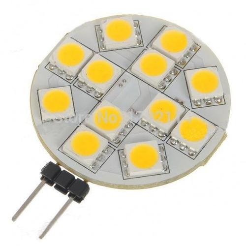 lampada g4 10 led 5050 branco quente 10-30v 130 lumens