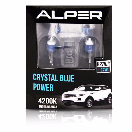 lampada h27w/1 super branca 12v crystal blue power alper