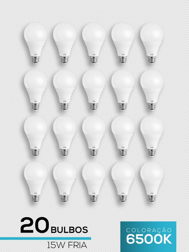 lampada led 15w bulbo 20 unid branca fria l&d 6500k promoção