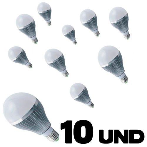 lampada led 9w 10 unidades bulbo bivolt e27 90% de economia