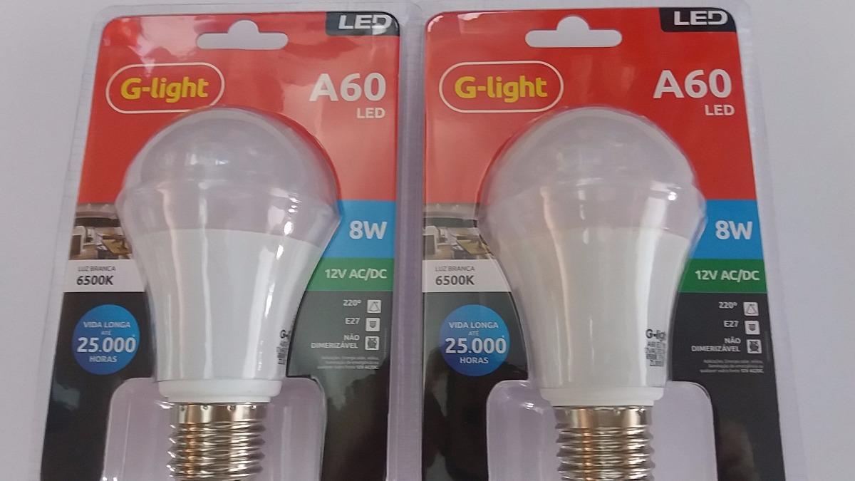 Lampada led a60 12v 8w 6500k e27 bateria g light r$ 29 00 em