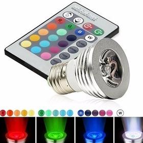 Lâmpada Led Dicroica Multicores Rgb 5w Controle Remoto Color