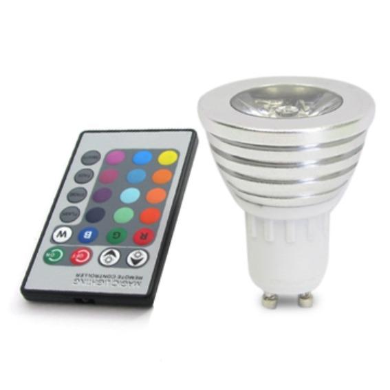 lampada led para spot rgb gu10 com controle remoto colorido r 19 90 em mercado livre. Black Bedroom Furniture Sets. Home Design Ideas