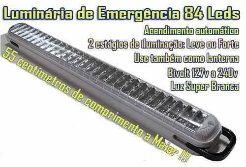 lampada luminaria luz emergência recarregavel 84 led bivolt