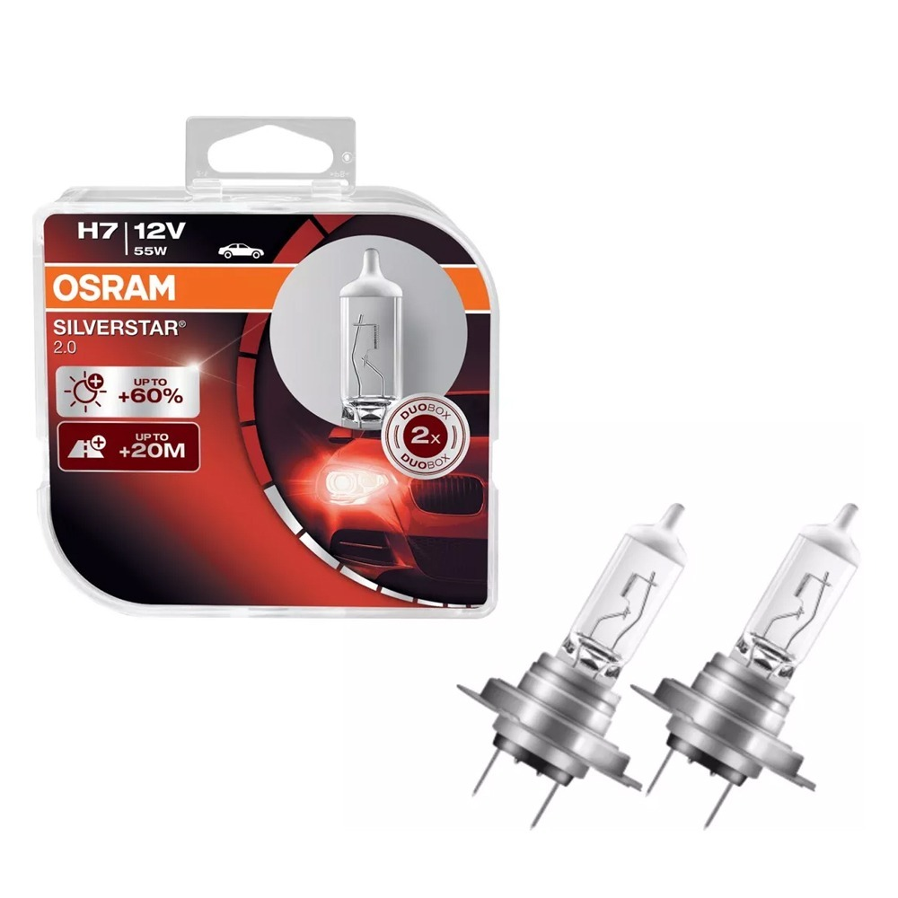 lampada osram silverstar 2 0 h7 par farol 3400k 55w 12v. Black Bedroom Furniture Sets. Home Design Ideas