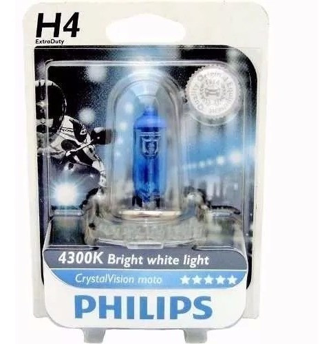 lampada p/ moto extra duty crystal vision h4 35/35w philips