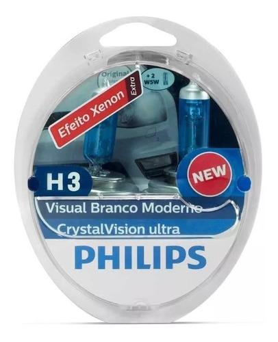 lampada philips h3 4300k cristal vision super branca crystal