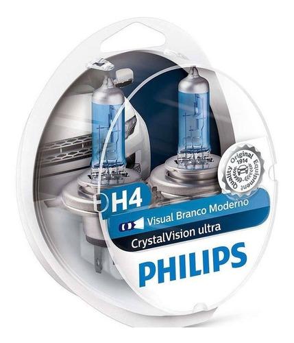 lampada philips h4 4300k cristal vision super branca crystal