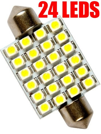 lampada torpedo 24 led 36mm super branca teto placa xenon
