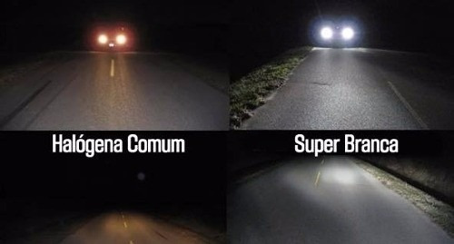 lampadas super branca h3 8500k farol milha gol quadrado par
