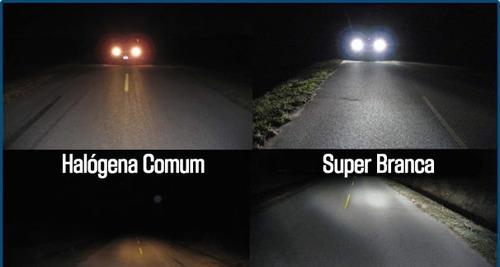 lampadas super brancas 8500k new fiesta h7/h1/h11 + brinde
