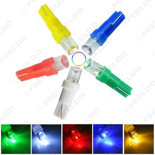 lampara 1 led 12v t5 blanca amarilla azul roja tablero.x2 r2