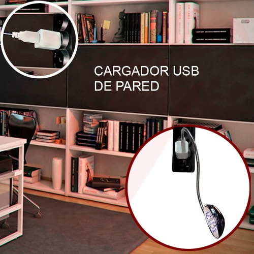 lampara 13 l e d s  flexible pc laptops camping + cargador
