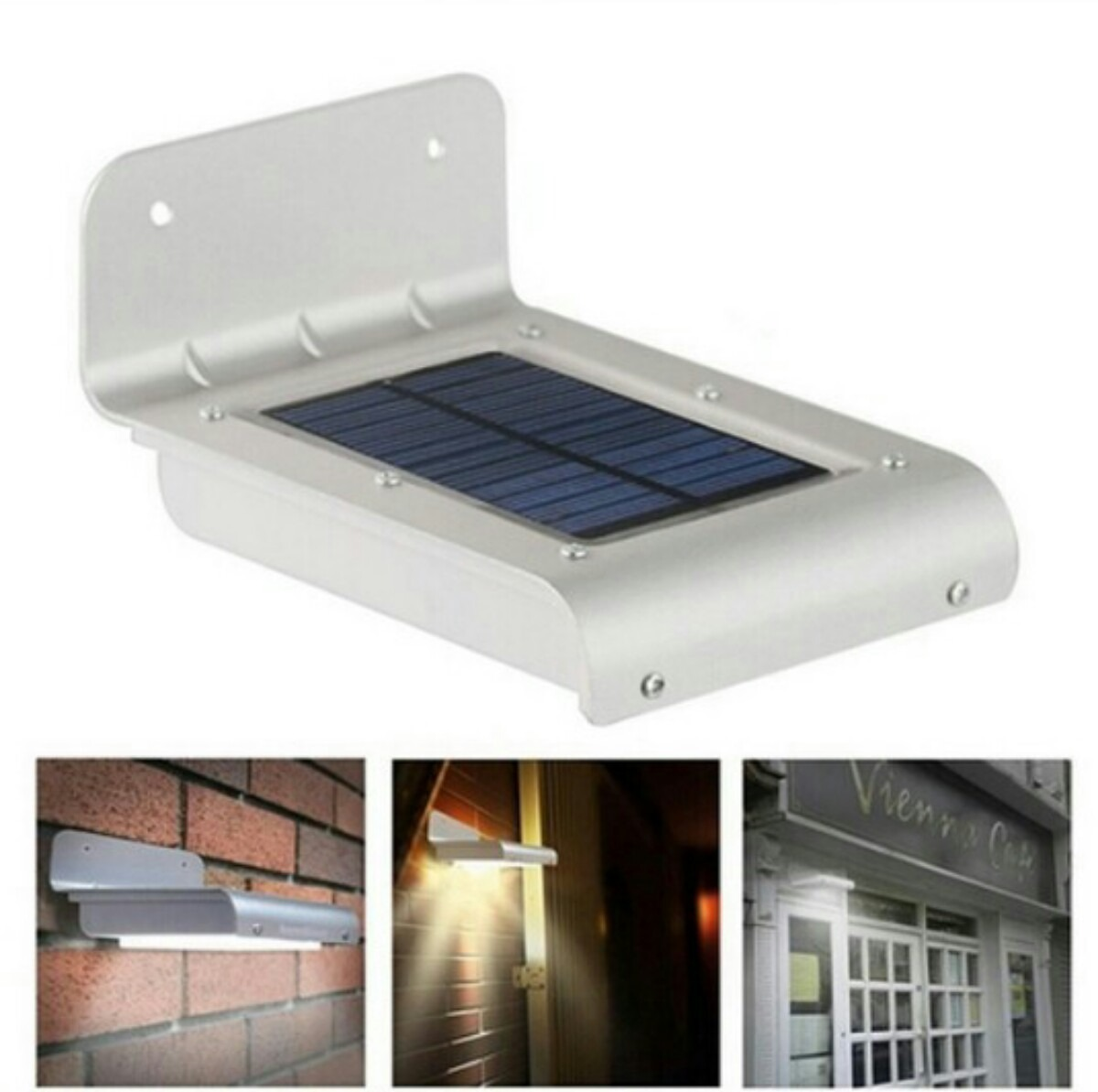 L mpara 16w 100 lumen led solar sensor movimiento for Lampara solar led