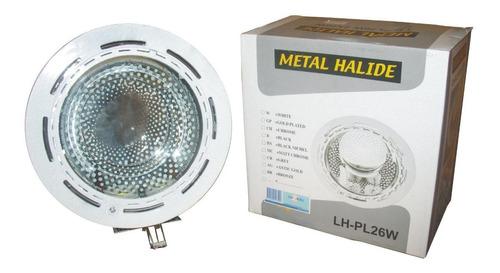 lampara 1x26w e27 empotrar luzkal blanco con vidrio ue10