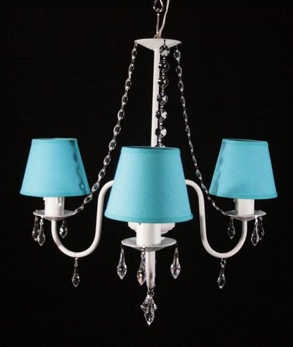 lampara 3 luces con caireles acrilicos y pantallas