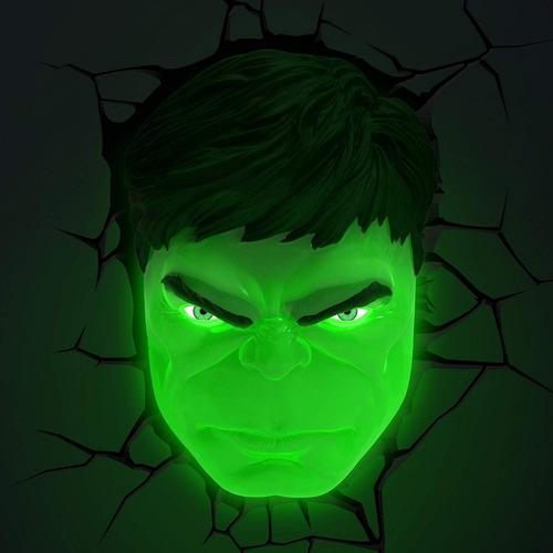lampara 3d rostro de hulk  decoración 3dlightfx marvel
