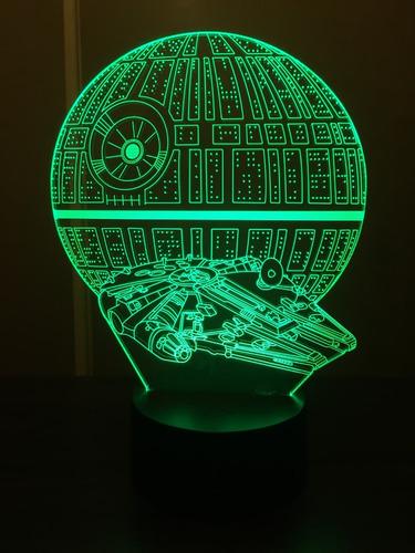 lámpara 3d star wars estrella de muerte y hálcon milenario