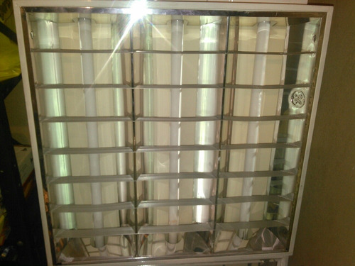 lámpara 60x60 3 bombillos t8 superficial o empotrar