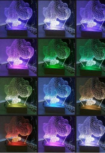 lampara acrílico 3d led rgb perro cabezón