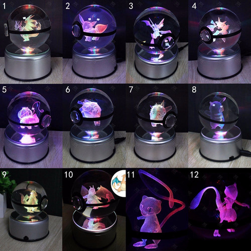 lampara anime pokemon cristal 3d