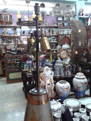 lampara antigua de mesa cristal y bronce egipcia