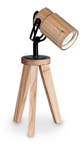 lámpara aplique velador de escritorio madera trípode carilux
