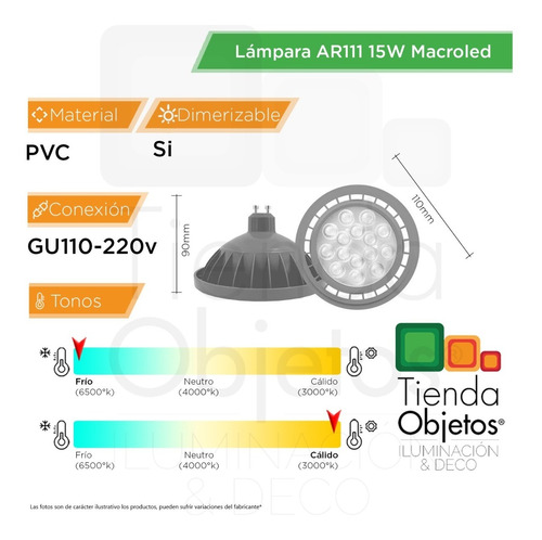 lampara ar111 led 15w = 75w dimerizable 220v gu10