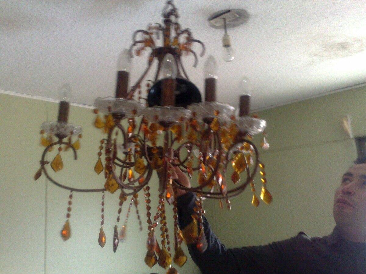 Lampara ara a con cristales checoslovacos color rub en mercado libre - Lampara arana colores ...
