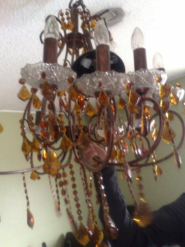lampara araña con cristales checoslovacos color rubí