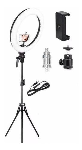 lampara aro luz led profesional foto maquillaje video incluye tripie con luz calida y luz blanca