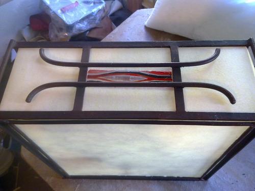 lampara artesanal hierro forjado mesa, vitrofusion,fabrica