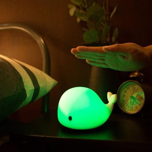 lámpara ballena usb velador touch cambia de colores