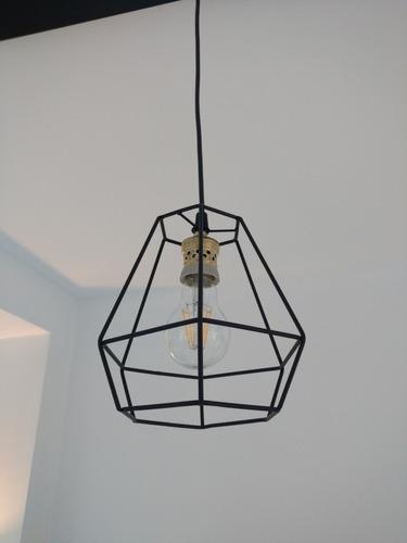 lampara barral colgante 80cm 3 diamantes hierro
