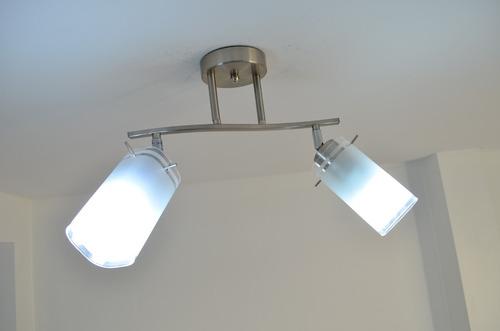 lampara barral techo 2 luces niquel satinado mate