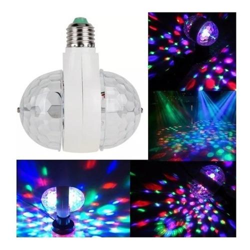 lampara bola doble led rgb giratoria luces dj fiestas bolita