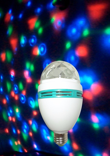 lampara bola led rgb e27 fiesta bolita giratoria color