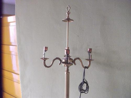 lampara bronce de pie antigüedad, decoración, colección
