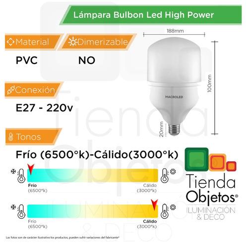 lampara bulbo led high power t120 30w e27 super potente