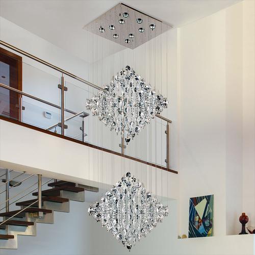lampara caireles de cristal rombo doble 10 luces de regalo