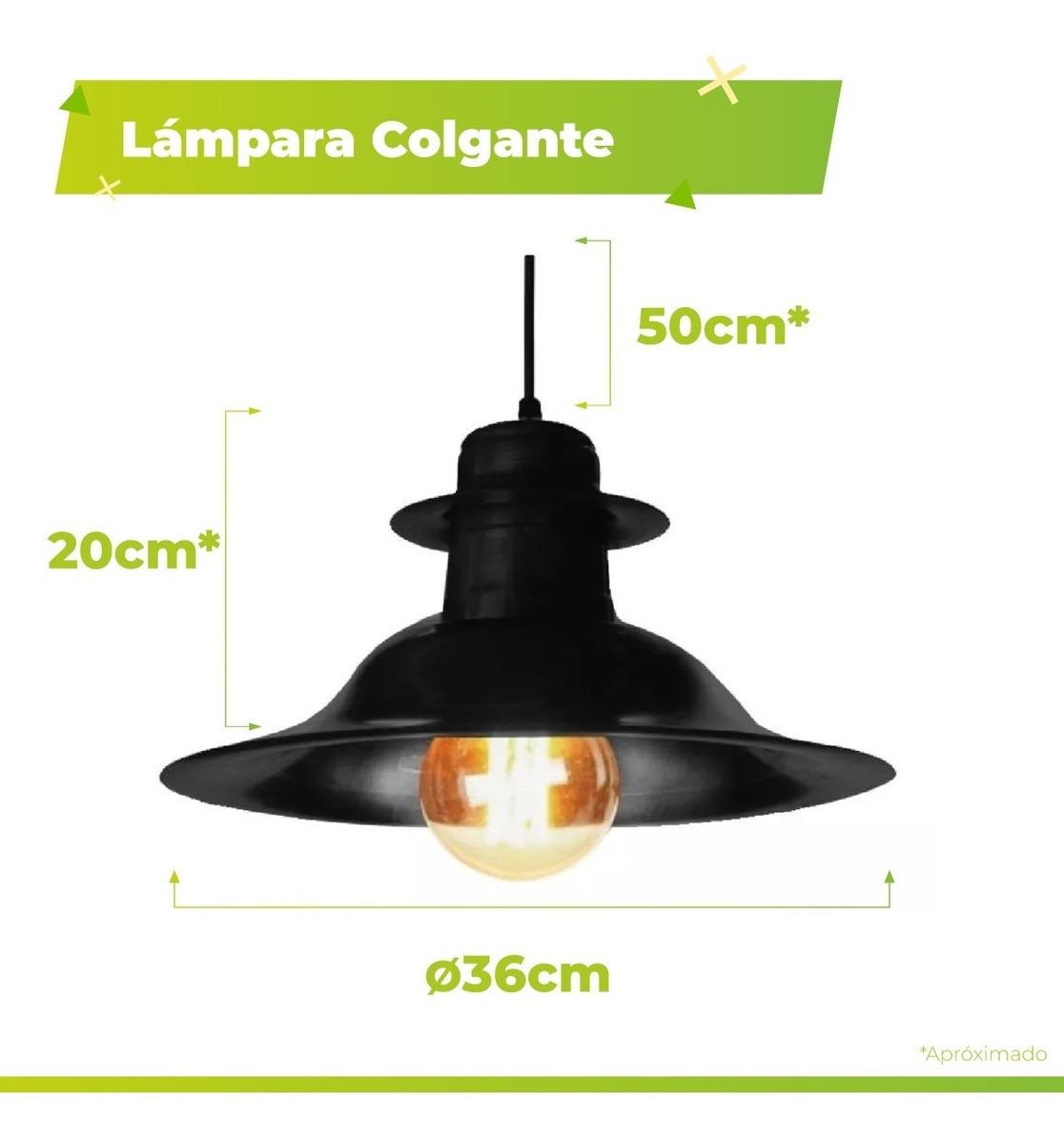Negro 1 35cm Luz Lampara Blanco Vintage Colgante Galponera VqzGUMpS