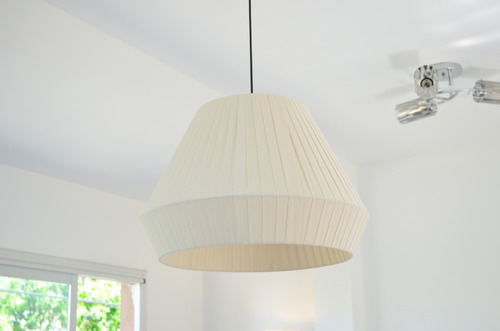 lampara colgante 1 luz diamante tela 50cm diametro