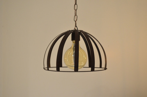 lampara colgante 1 luz semi esfera terminacion oxido
