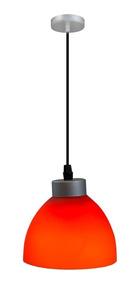 Acero E27 Lámpara Anaranjado 1 Luz Rojo 60w Colgante NnwPZ80OkX
