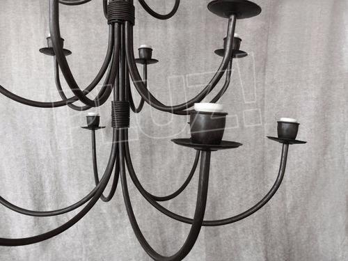 lámpara colgante araña 3 pisos alta 18 luces - hierro negro