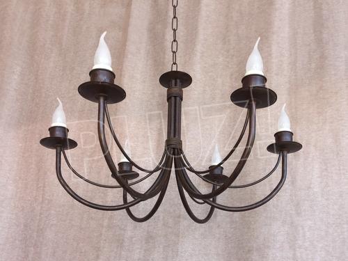lámpara colgante araña 6 luces - hierro óxido