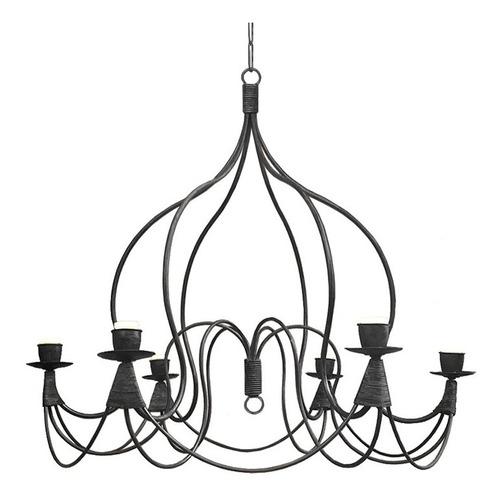 lámpara colgante araña campana 6 luces - hierro negro
