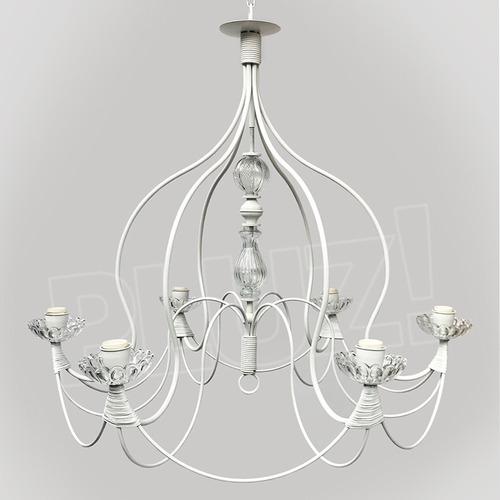 lámpara colgante araña campana 6l c/vidrio - hierro blanco
