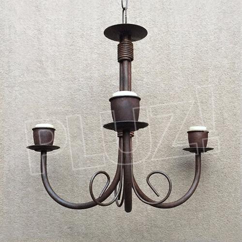 lámpara colgante araña chica 3 brazos - hierro óxido