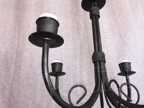 lámpara colgante araña chica 4 brazos - hierro negro